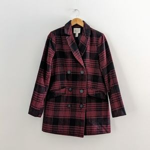 Forever 21 Burgundy Plaid Double Breasted Coat